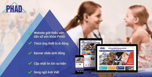 Mẫu website Viện dân số sức khỏe PHAD