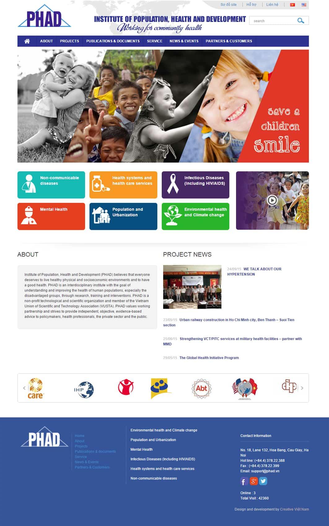 Mẫu giao diện website Viện dân số sức khoẻ PHAD