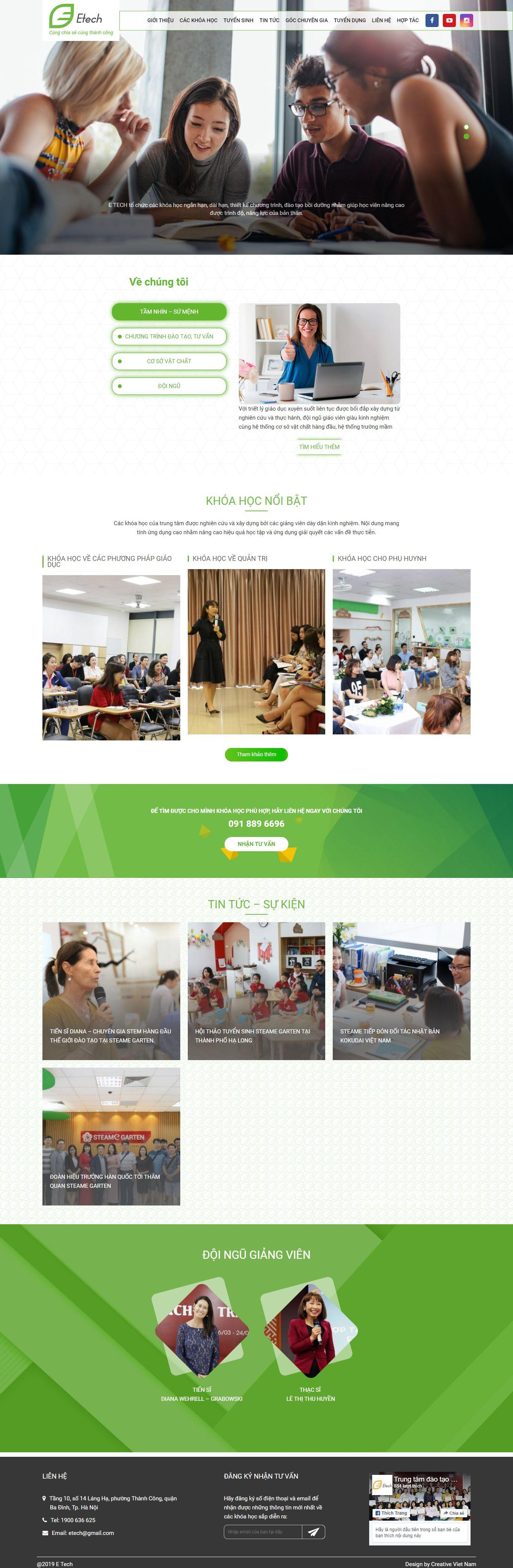 mẫu website đào tạo etech